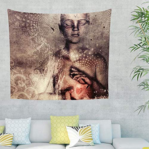 LIFOOST Tapestry Universe Bohemian Wall Hanging Beach Throw for Window Curtain White 100 x 150 cm