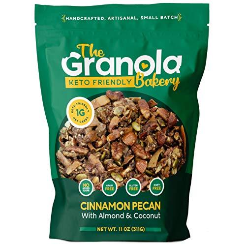 Granola Bakery Keto Granola | Low Carb Keto Cereal | 1g Net Carb | Low Sugar Keto Snack | Keto Breakfast | Diabetic, Keto Friendly | Small Batch, Hand Crafted | Cinnamon Pecan, 11 Ounces