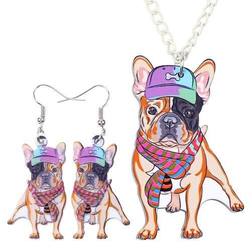 FUKAI Nueva Personalidad Conjuntos De Joyas De Moda Acrílico Bulldog Francés...