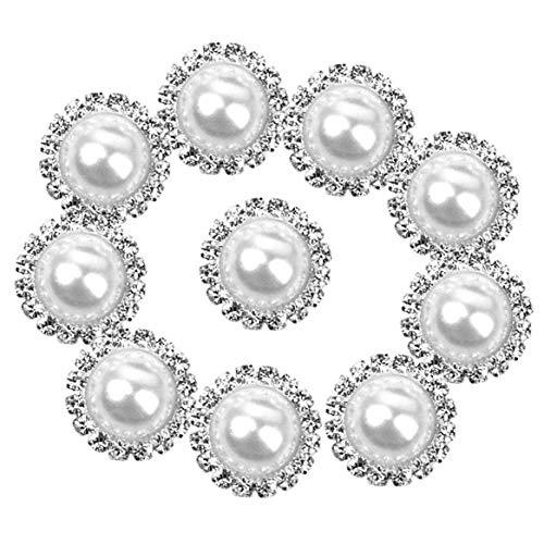 Naicasy 10 Stück Damen Perlenknöpfe Bulk Runde Perlen Retro Stil Faux Strass Knöpfe für Kette, Halskette, Ohrringe, Krone, Haarspange (15 mm)