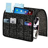 Joywell Thick Linen Sofa Armrest Organizer, Armchair Caddy 6 Pockets Remote Holder on Couch & Chair Arm for TV Remote Control, Magazine, Books, Cell Phone, iPad, Black