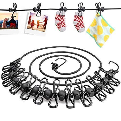 Sporgo 2 Stück Wäscheleine, Camping Wäscheleine Reise Outdoor 185-360cm, Flexible Wäscheleine Tragbar Elastische mit 12 Beschichteten Klammern und 13pcs Schwarze Positionierung Wölbungen (Black)
