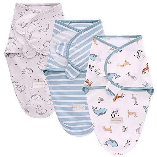 SaponinTree Manta de bebé para recién Nacidos y bebés, Paquete de 3 Mantas 100% algodón Transpirable Ajustables para bebés Unisex de 0 a 6 Meses