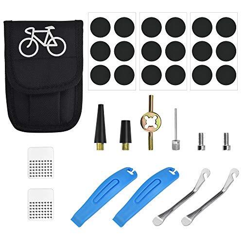 QUCUMER Kit Reparacion Bicicleta Reparar Pinchazo Camara Bicicleta 31 Pcs, 18 Parches Autoadhesivos, 2 Palancas 2 Palanquetas 2 Escofinas Metálicas 1 Bolsa 1 Llave de Núcleo de Válvula +5 Accesorios