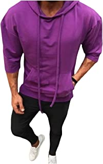 Mogogo Men's Half Sleeve Cozy Tops Casual Solid Colored Hoodies Sweater Pullover