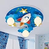LAKIQ Kids Room Modern LED Chandelier Blue Creative Flush Mount Light with Cartoon Cloud Plane Star 8 Lights Close to Ceiling Lighting Fixture for Childrens Room Bedroom (Style C)