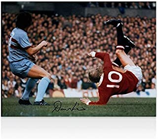 Denis Law Signed Photo - Manchester United Overhead Kick Autograph - Autographed Soccer Photos