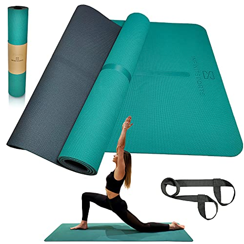 Infinitsports® - TPE Yogamatte, Gymnastikmatte, Fitnessmatte, extrem rutschfest & schadstofffrei - Yoga Matte, Pilates Matte, Sportmatte mit (Yoga-)...