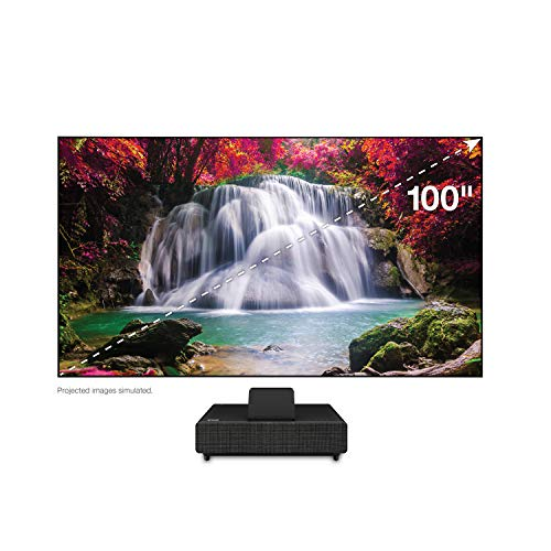 "Epson – 100"" EpiqVision Ultra LS500 Laser Ultra Short Throw Projection TV with 4K PRO-UHD and HDR – Black"