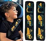 HECKBO® 2x Protezione per Cintura di Sicurezza, Spallina Imbottita, Cuscino per Auto, Copricintura per Bambini con Mezzi da Lavoro, Ruspa (Bagger) - anche per Seggiolini su Auto e Bici
