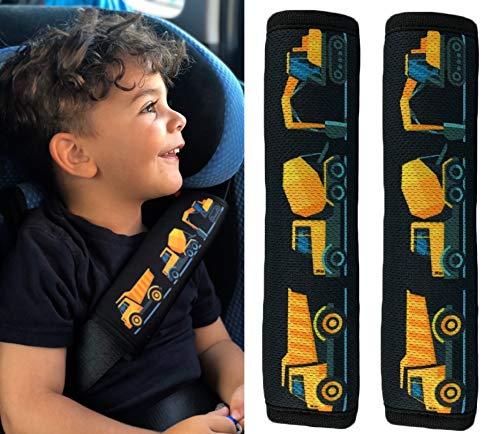 HECKBO 2x Kinder Auto Sicherheitsgurt mit coolen Baufahrzeugen Bagger - 21 x 6cm - Gurtschoner Kissen Autositz Gurt Fahrradsitz Gurt Gurtpolster für Sitzerhöhung Gurtschutz