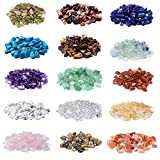 2000 Pcs Chip Gemstone Beads DIY Jewelry Making, Healing Engry Crystals Polishing Crushed Irregular Shaped Beads with Box (15 Materials)
