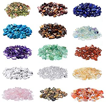 2000 Pcs Chip Gemstone Beads DIY Jewelry Making Healing Engry Crystals Polishing Crushed Irregular Shaped Beads with Box  15 Materials