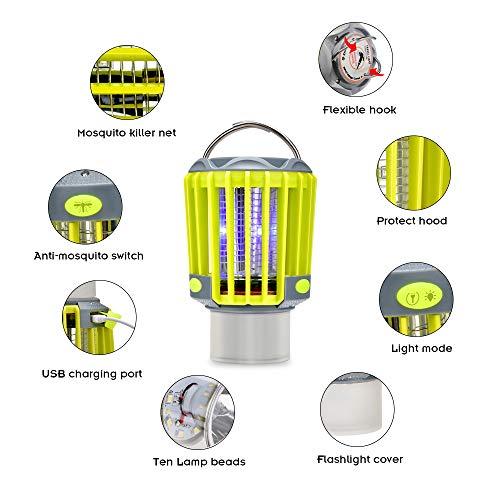 BASEIN Lampe Anti Moustique Exterieur, Lampe de Protection Anti-Moustique IP67 3 en 1 avec Lampe de Camping IP67 Lmperméable Fly Insecte Zapper Lampe pour Extérieur Intérieur avec Crochet Escamotable