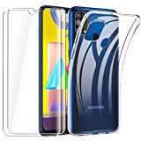 HTDELEC Funda + 2 Pack Vidrio Templado para Samsung Galaxy M31,Transparente Slim Silicona Fundas Suave TPU Gel Carcasa Ultra-Delgado Anti-arañazos Protectora Case Cover para Samsung Galaxy M31