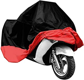 Exlight Motorcycle Cover Universal Protective Outdoor Cover with Storage Bag, Waterproof Dustproof Ultra Violet Protective, Black and Red