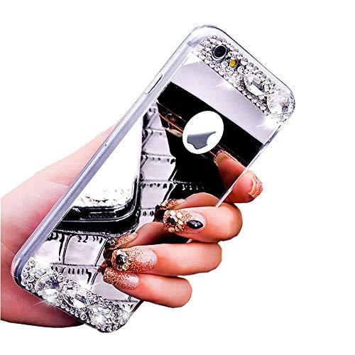Glitzer Spiegel Hülle für Huawei Y6 2018, Obesky Diamant Strass Handyhülle Ultra Dünn Plating TPU Silikon Schutzhülle Anti-Scratch für Huawei Y6 2018 / Honor 7A, Silber