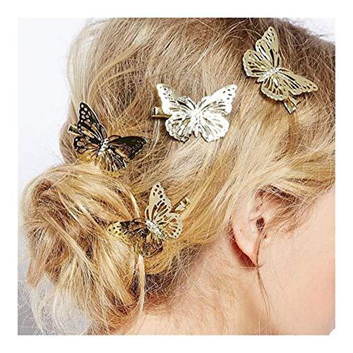 HumoliStore 6Pcs glänzende Metallhaar-Clips Goldene Schmetterlinge Haarnadel Griffe Spange Klemmen for Hochzeit Haarnadel Mädchen Haarschmuck Very Beautiful (Color : Gold)