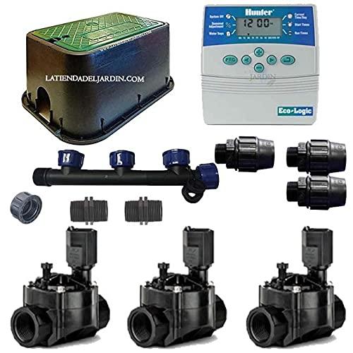 Suinga KIT RIEGO AUTOMATICO 3 Zonas de Riego para riego electrico. Conjunto de Temporizador + Electroválvulas + Accesorios de instalación
