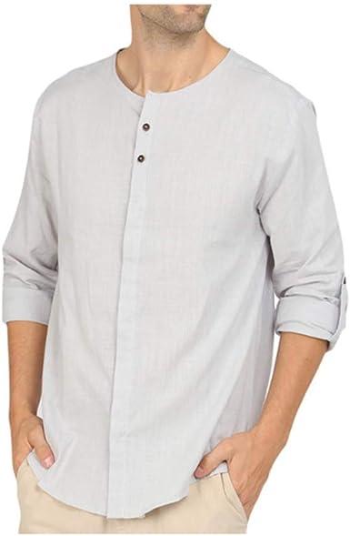 Camisa Holgada de Lino para Hombre, Camisa de Manga Larga ...