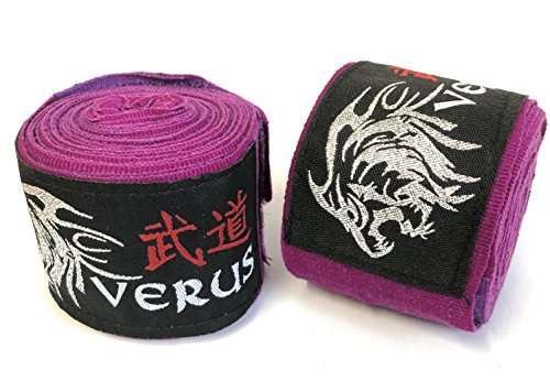 Verus Elastic Hand Wraps MMA Inner Gloves Fist Protector Mitts Boxing Bandages (Purple)