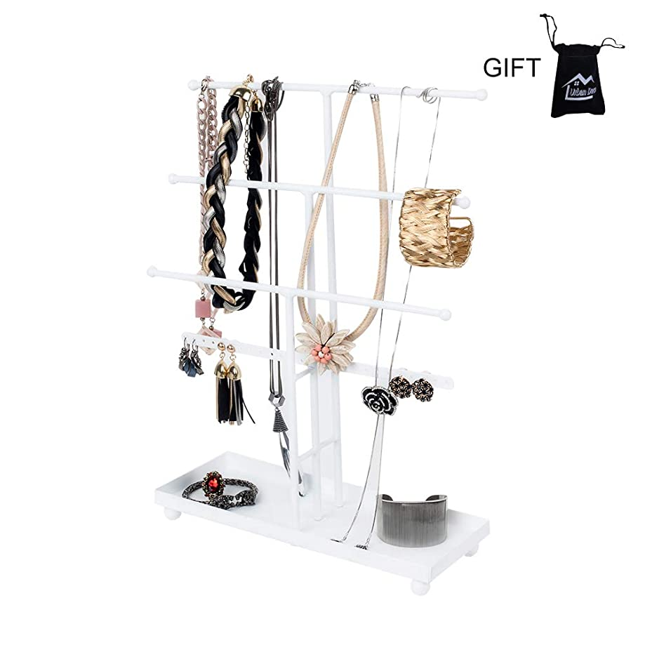 Necklace Holder Jewelry Organizer Jewelry Stand 3 Plus 1 Tier Tabletop with Ring Tray to Organize Necklaces, Bracelets, Earrings, Rings and Watches, White