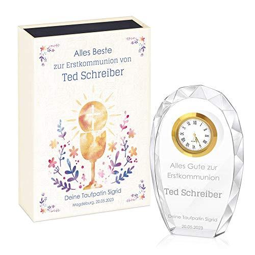 Murrano Glas-Statuette mit Uhr - Statuette mit Gravur - in personalisierter Box - Kristall Statuette - Uhr mit 3D-Gravur - Taufe Kommunion Konfirmation - religiös - für Patenkind - Messkelch