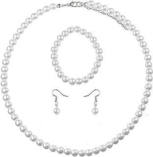 PPX 4 Pezzi Collana di Perle - Bracciale - Orecchini - Set di Gioielli, con Portagioie Trasparente