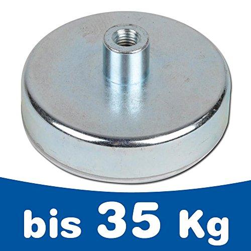 Flachgreifer Topfmagnet Neodym Gewindebuchse verzinkt Ø 6mm - Ø 32mm - Flachgreifer kommen vor allem im Metallbau, Anlagenbau, Vorrichtungsbau, Messebau, Modellbau zum Einsatz, Größen:Ø 32mm | M5 | 35kg Haftkraft