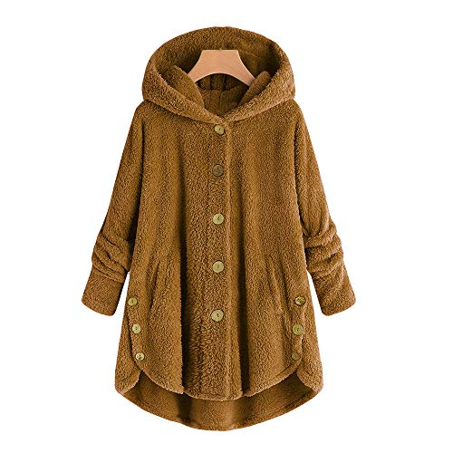 KEYIE Women Winter Hooded Jacket Plus Size Button Plush Tops Loose Cardigan Wool Coat Yellow