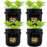 HAHOME 4 Pack 7 Gallon Potato Grow Bag, Garden Planting Bags,Vegetables Planter Bags, Non-Woven Aeration Fabric Pot Growing Bags with Handle and Access Flap, Black