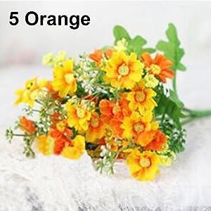 JujubeZAO – Ramo de flores artificiales con 28 cabezas de margaritas artificiales de seda para decoración del hogar