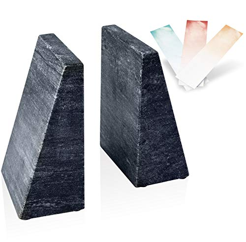 Hampstead Bookends  Decorative Marble Book Stoppers  Home Office Elegant Creative Shelf Decor Triangular 100% Natural Polished White Marble Bookends Black