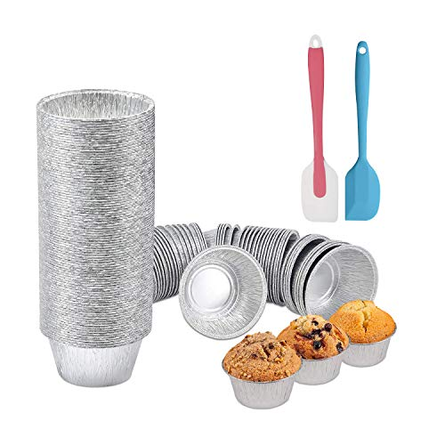 MENTODO Foil Baking Cups, 200 Pack Disposable 4oz Aluminum Muffin Cupcake Ramekin Liners Baking Cup for Cupcakes, Muffins and Snacks, 2 Silicone Spatula Included