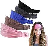 Ealicere 5 piezas cintas pelo mujer anchas diademas,5 colores diademas de pelo anchas para maquillaje yoga deporte lavar tu cara