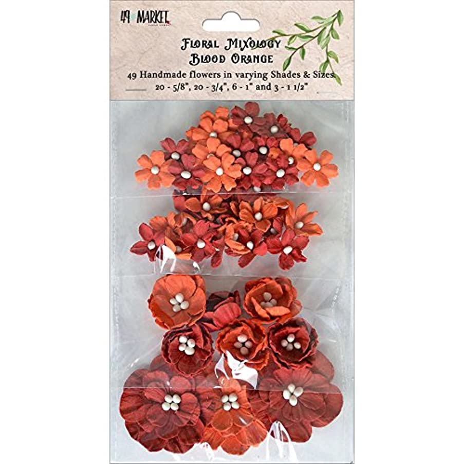 49 and Market FM-85700 Paper Flowers Sizes 49/Pkg, Blood Orange