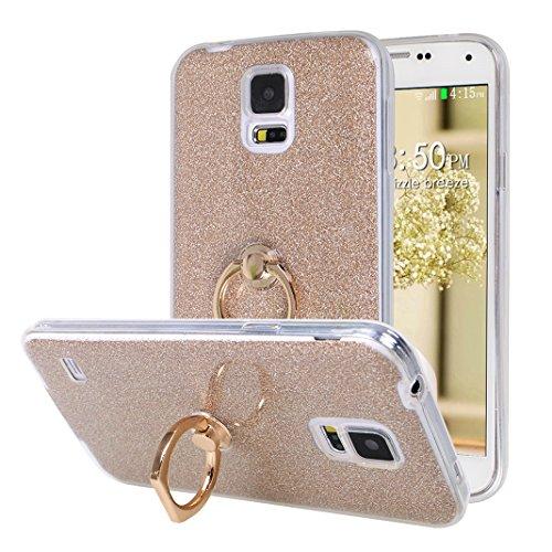 Galaxy S5 Neo Hülle Ring, Moon mood 2in1 Hybrid Hülle mit 360°drehbar Kickstand Finger Griff Halter Hülle für Samsung Galaxy S5 Neo S5 I9600 Durchsichtige Transparente Silikon TPU Weich Handy Cover