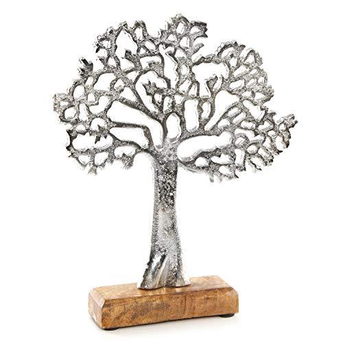 Logbuch-Verlag Figura de árbol de la vida de metal y madera, 27 cm, plata, escultura de árbol para colocar de pie, decoración para regalo