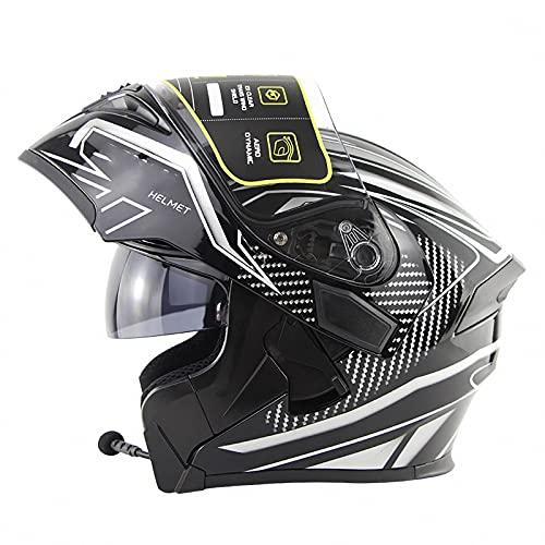 WYNBB Cascos De Moto con Bluetooth, Cascos Jet De Moto con Lente Antivaho De Alta Definición, Medio Cascos con Certificación ECE,C2,XL