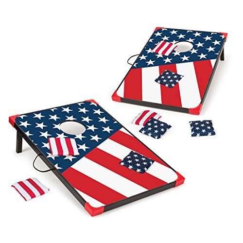 EastPoint Sports 1-1-16866-DS Cornhole Game Set Bean Bag Toss MDF - 2' W x 3' L - Built-In Storage, Convenient Carry Handles and 8 Premium Bean Bags,Stars and Stripes