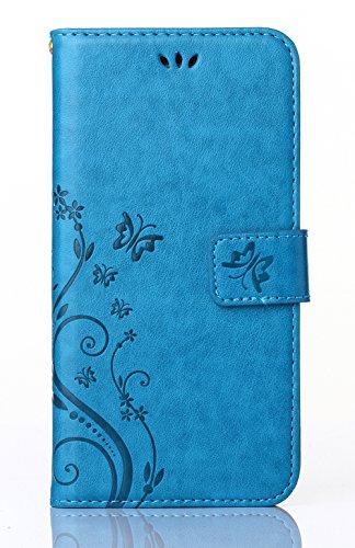 Cover per Samsung Galaxy S6G9200, poliuretano, lavorato a sbalzo con farfalla e fiore, Ecopelle PLASTICA Pelle, blue, Samsung Galaxy S4 i9500 / GT - i9505