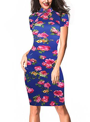 Oxiuly Women's Retro Print Stretch Short Sleeve Stand Collar Sheath Dress OX183 (M, Blue)