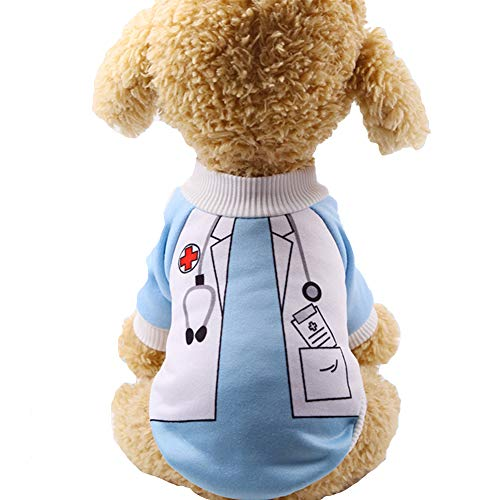 Yu-Xiang 2 Legs Dog Doctor Costume Halloween Party Pet Nurse Cloth Fleece Funny Cat Cosplay Winter Hoodies for Small Mediumn Dogs Cats (Doctor, XL)