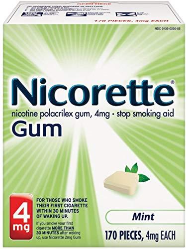 Nicorette 4mg Nicotine Gum to Quit Smoking - Fresh Mint Flavored Stop Smoking Aid, 170 Count