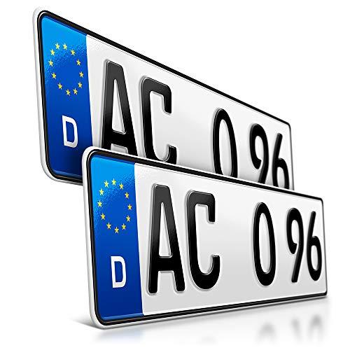 schildEVO 2 Kfz Kennzeichen | 410 x 110 mm | DIN-Zertifiziert – EU Wunschkennzeichen mit individueller Prägung | PKW Nummernschilder | kurzes Autokennzeichen | Auto-Schilder | DHL-Versand