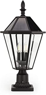 LUTEC 12513LE4-SL-Head LED Post Solar Light Outdoor Vintage Street Lights for Lawn Patio Yard Pathway Garden Planter Not Included