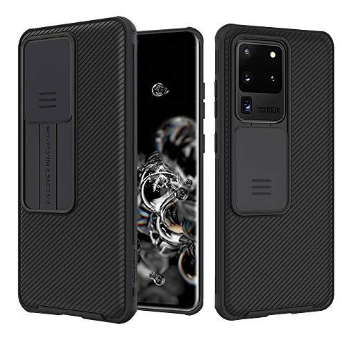 Funda para Samsung Galaxy S20 Ultra, [Protección de la cámara] Estuche Híbrido Parachoques Premium Delgado Carcasa Rígida PC con Cubierta Deslizante para Cámara - Negro