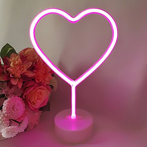 Leepesx Flamingo/Cactus/Moon/Heart/Angel/Star/Lightning Neon Signs LED Light con Base del Supporto per Feste Forniture Removable Home Table Decoration Lamp per Kids Room Style 3