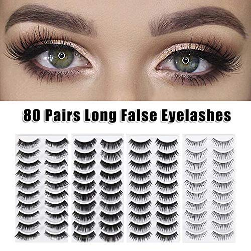 Fishyu 80 Paires Faux Eyelashes 8 Style Épais Long Yeux Lashes Beauté Maquillage Femmes Filles
