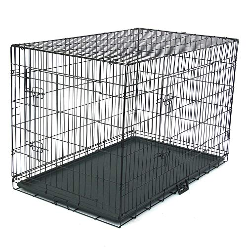 Dog Crate Puppy Box 48' Pet Kennell Cat Rabbit Folding Steel Box Animal Play Pen Wire Metal Cage Black Double Open Cage With Plastic Tray (Arrival in 2-5 days)